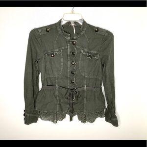< Free People Olive Green Utility Jacket >